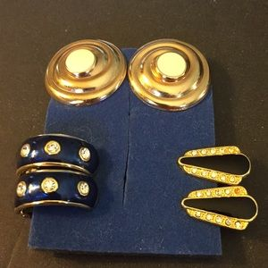 Three pairs of clip on earrings